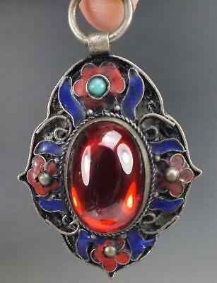Chinese old Natural hetian Red Zircon Hand-carved Silver Enamel Pendant a02