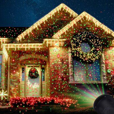 Christmas Laser Fairy Light Projection Outdoor Star Laser Projector Light Decor@