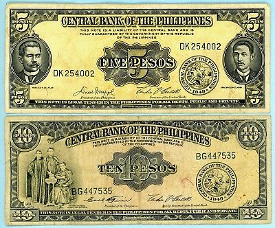 Philippines Ten and Five Pesos 1949 Issue