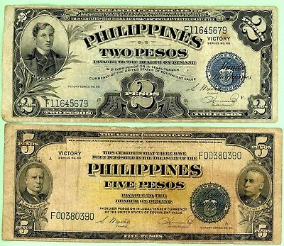 Philippines Two and Five Pesos Series No 66 Victory
