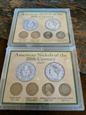 two sets of American nickels of the 20th century