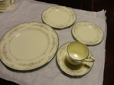 Noritake Shenandoah 9729 Dinner Set 5 Piece Place Setting Salad Plate Cup Saucer