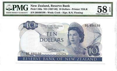 New Zealand 10 Dollars P166a PMG 58 EPQ-Crisp Example of This Scarce Banknote