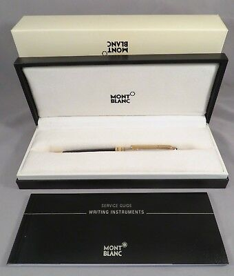 NIB Authentic Mont Blanc Meisterstuck Solitaire Doue Sterling Silver Black Gold