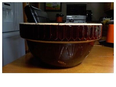"Vintage Brown Mixing Bowl Glazed Pottery  Large 10"" Diameter Crockery"