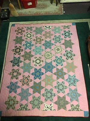 Antique Quilt Early Hand Stitched 1800s Moravian NC