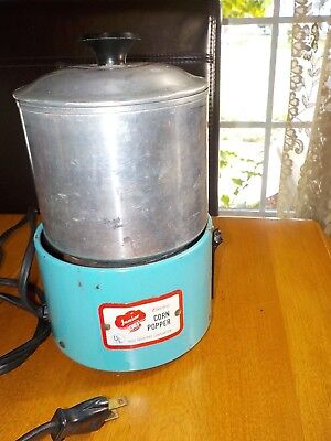 RARE Vintage Argo JUNIOR CHEF Electric Corn Popper TEAL METAL WORKING!