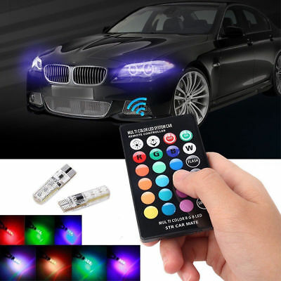 T10 W5W 5050 6SMD RGB LED Multi Color Light Car Wedge Bulbs Remote Control Set