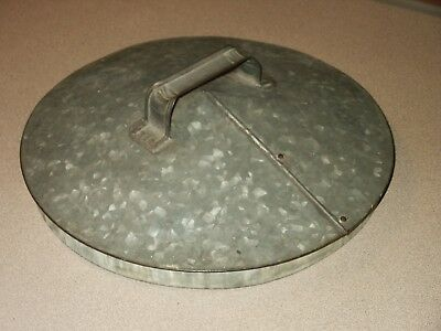 "Vintage Large Galvanized Tin Steel Lid 12 5/8"" Diameter"