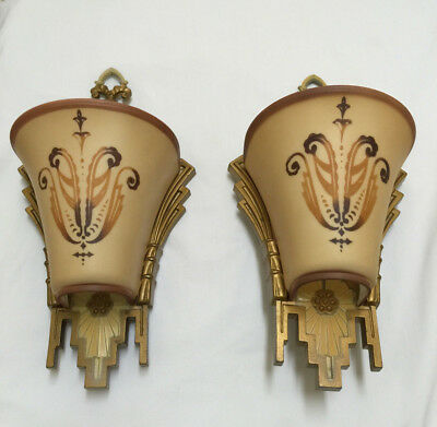 Wonderful Antique Beardslee Williamson Chicago Art Deco Wall Sconces