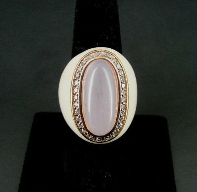 Pink Chalcedony Cubic Zirconia Enamel Gold Vermeil Sterling Silver Ring size 7
