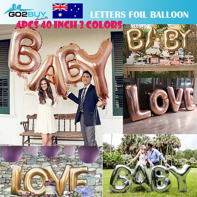 "40"" Rose Gold Foil Balloon Letters BABY LOVE Set Party Decoration Birthday Kids"