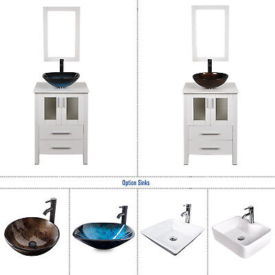 24 Inch White Bathroom Vanity Solid Cabinet Wood Vessel Sink Faucet Mirror Combo