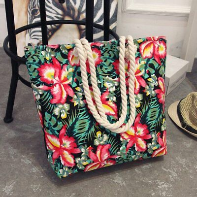 Women Canvas Shoulder Bag Floral Printed Bohemian Style Tote Shopping Bag LZ