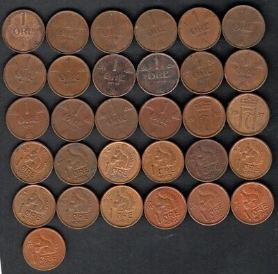 1931-72 NORWAY  1 øre copper coins   Lot of 31 different years