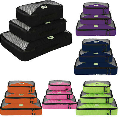 3Pcs Travel Bag Luggage Organizer Set Storage Waterproof Clothes Packing Cube US