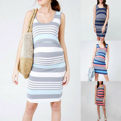 Pregnant Women Stripe Print Maternity Breastfeeding Sleeveless Nursing Dress Pro