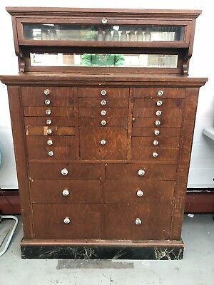Antique Oak Dental Storage Cabinet Dentist Chest Crystal Handles