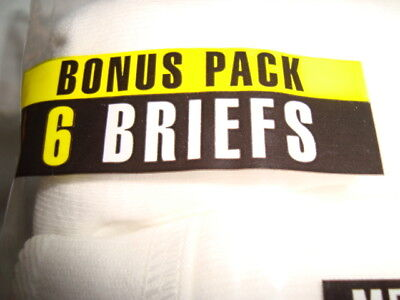 BVD Classic Men's  Briefs - White -100% Cotton - Large 38-40 6 pack - New - 2010