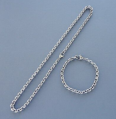 SET Stainless steel Necklace and Bracelet Rolo Chain 6mm Men Women Kids
