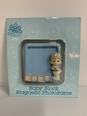 Precious Moments BOY Baby Block Magnetic Photo Frame NEW Blue