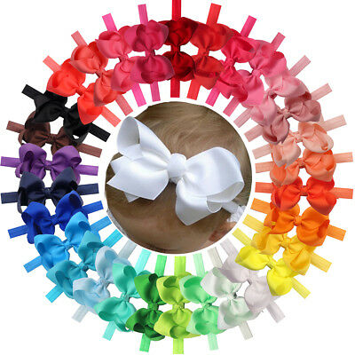 30Pcs Baby Girls Solid Ribbon Hair Bows Headbands Big Bow Hair Bands for Toddler