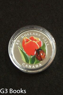 2011 Royal Canadian Mint $20 Fine Silver Coin - Tulip with Ladybug, Murano Glass