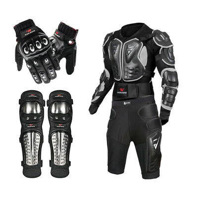 Motorcycle Body Armor Jacket Bike Back Shoulder Protector Gear knee gloves