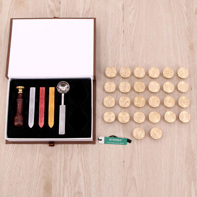 Retro Initial 26 Alphabet Wax Seal Stamp Kit Sealing Wax Letters Invitation