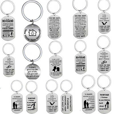 Stainless Steel Lover Husband Boyfriend Gift Keychain Mom Best Friend Keyring