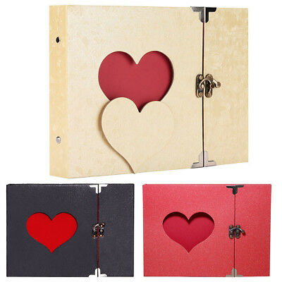 10in Vintage DIY Scrapbook Album Love Heart Hollow Out With Lock Hard Cover Gift