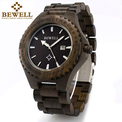 Bewell Wooden Watches for Men Ebony Wood Band Mens Wrist Watch Calendar Display