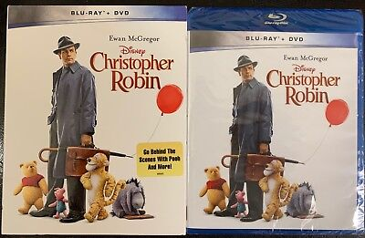 New Disney Christopher Robin Blu Ray Dvd + Slipcover Sleeve Walmart Exclusive