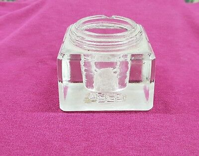 Vintage Heavy Glass Ink Well Pot Holder Us Patent 1894