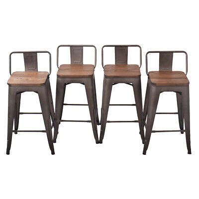 "Metal Steel 24"" Bar Stool Set of 4 Low Back Wooden Seat Counter Chair Rusty"