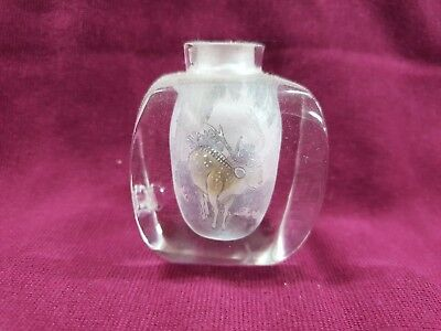 Antique Vintage Chinese Snuff  Perfume Bottle Hand Painted Inside With Deer