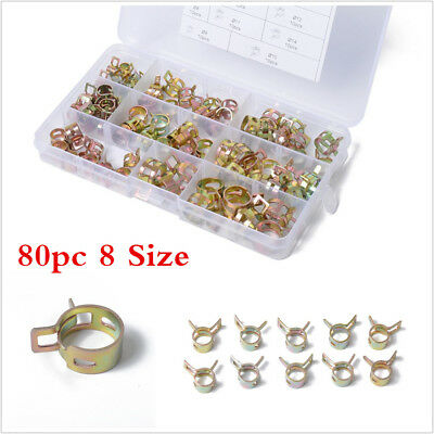 80x6-15mm Car Spring Clip Fuel Line Hose Clip Water Pipe Air Tube Clamp Fastener