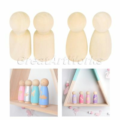 4 Size Peg Dolls Natural Unfinished Craft DIY Ready For Paint Wooden Dolls 5/10x