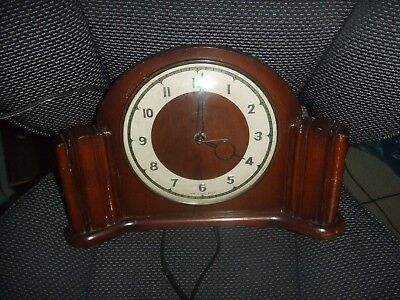 Vintage Art Deco Antique Wooden  Clock Smiths Sectric Mantel In NOT TESTED