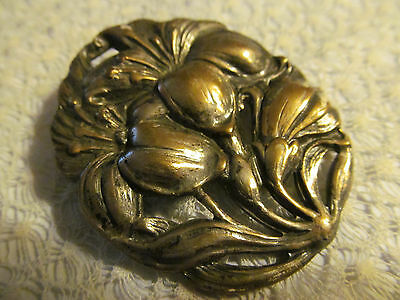 Beautiful Vtg Antique Art Nouveau Signed Sterling Silver Repousse Brooch Pin