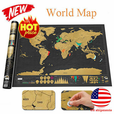 Deluxe Scratch Off World Journal Log Wall Map Personalized Travel Poster Atlas