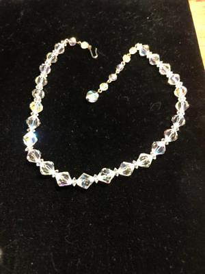 Vintage Gorgeous Crystal Clear Alternating Glass Bead Necklace Choker