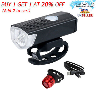 MTB Road Bike Bicycle Cycling Head Front Lights w// 2 Laser Rear Tail Lamps Set 3