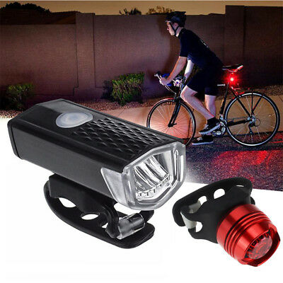 Bike Bicycle Lights USB LED Rechargeable Set Mountain Cycle Front Back Lamp LOT