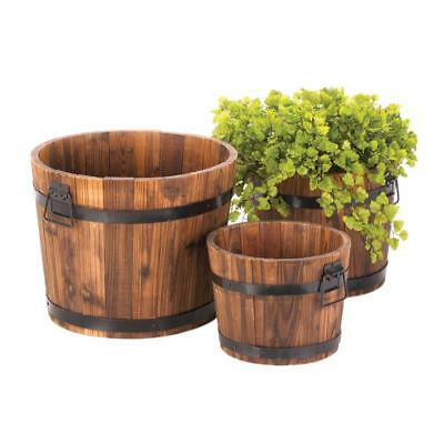 Apple Barrel Planters Trio Garden Outdoor Wooden Yard Deck Vintage Rustic Decor