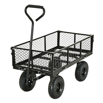 Heavy Duty 4 Wheel Trolley Cart Barrow Wheelbarrow Garden Outdoor Transport