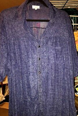 755232eeb49c7f SIREN LILY SHEER short sleeve button front top Plus Size 3X Great Gift Idea