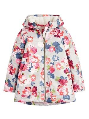 Joules Girls Raindrop Fleece Waterproof Coat Grey Painted Floral  5-10 Yrs SALE