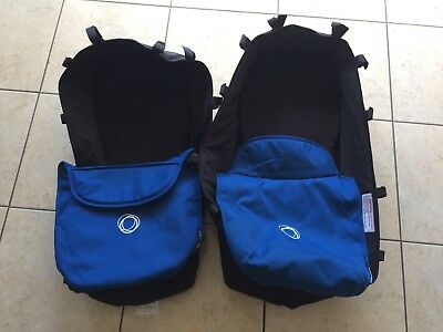 2x Bugaboo Donkey bassinet / carrycot with blue cover /apron