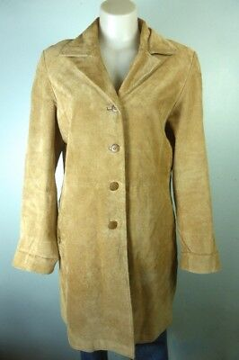 Brown Tan Suede leather Dress jacket coat: vintage style Boho buttoned sz 12